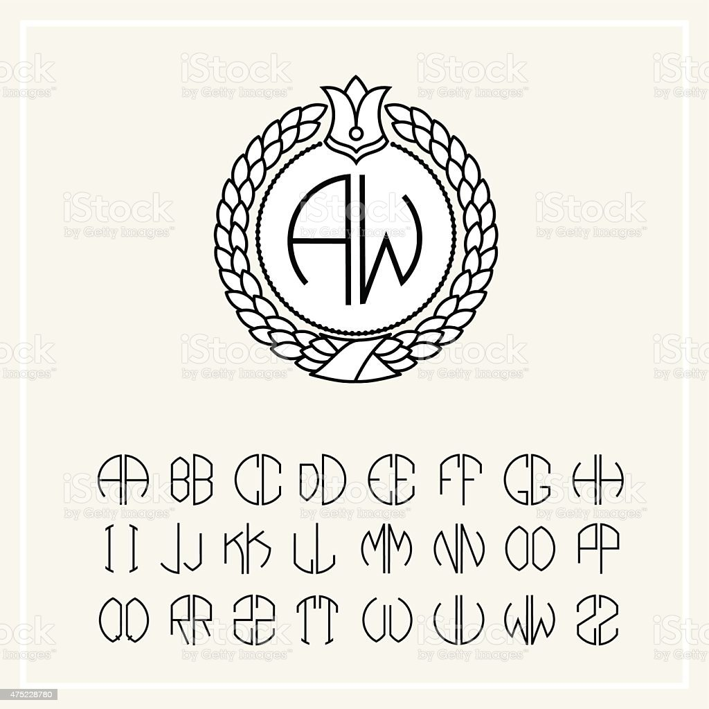 Set of templates for creating letters monogram wreath vector art illustration