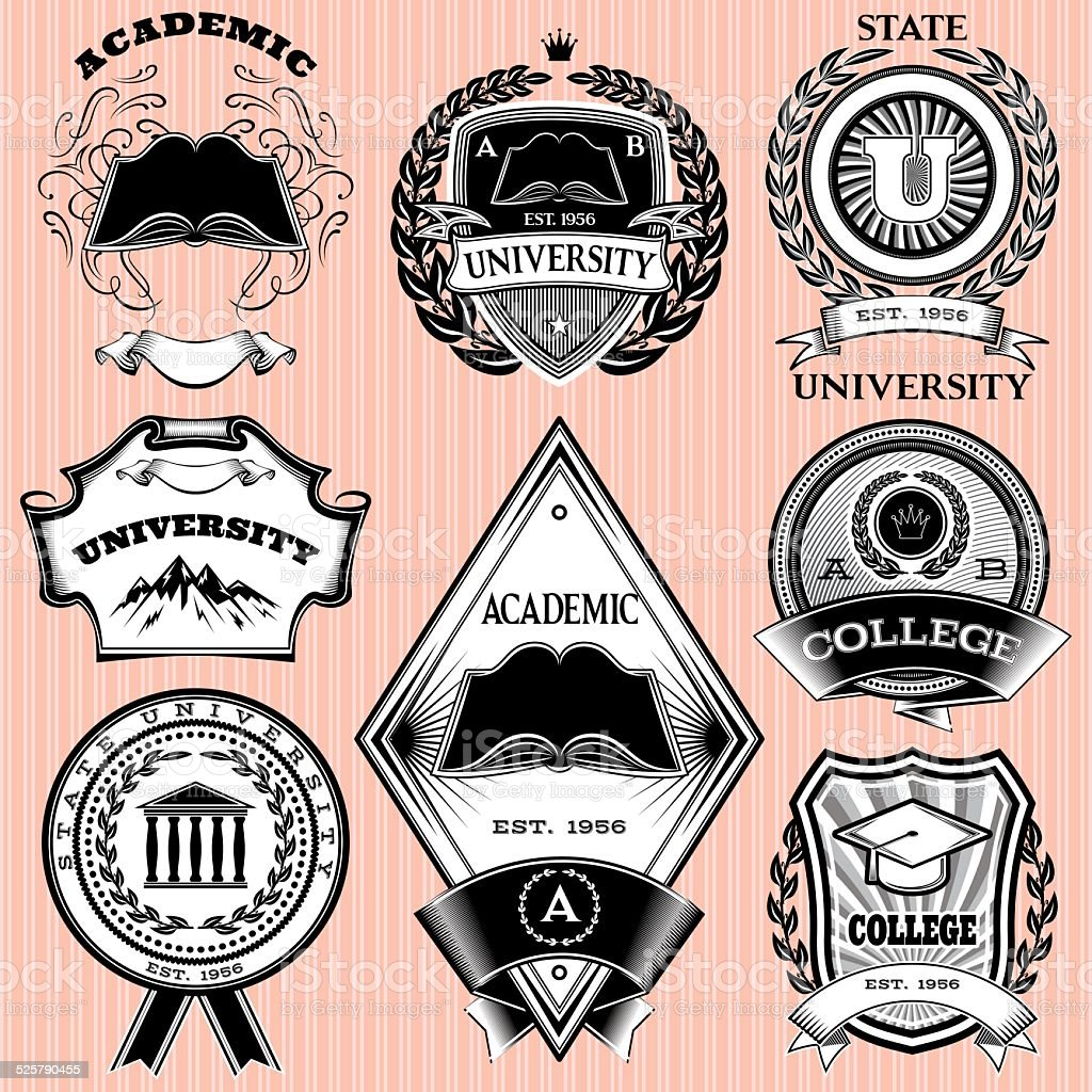 set of templates for emblem in education vector art illustration