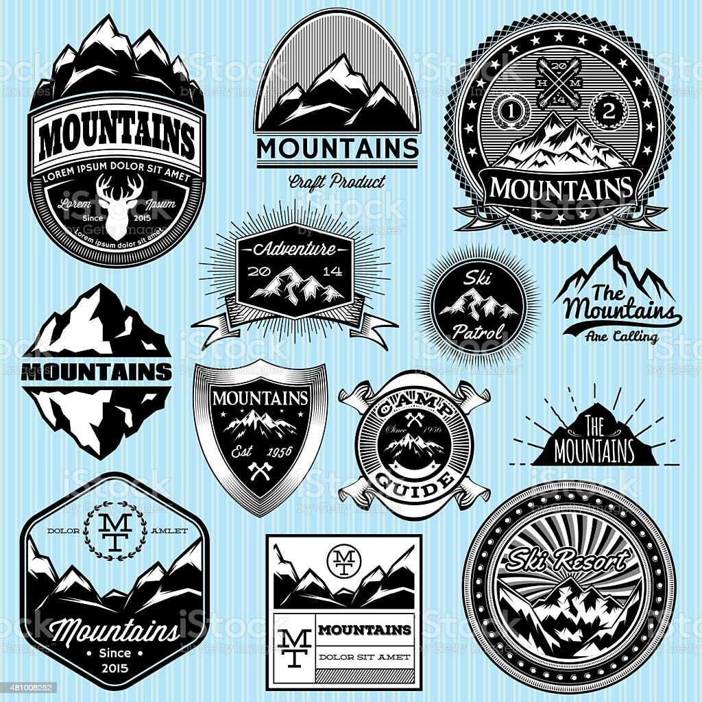 set of templates for emblems with different mountains vector art illustration
