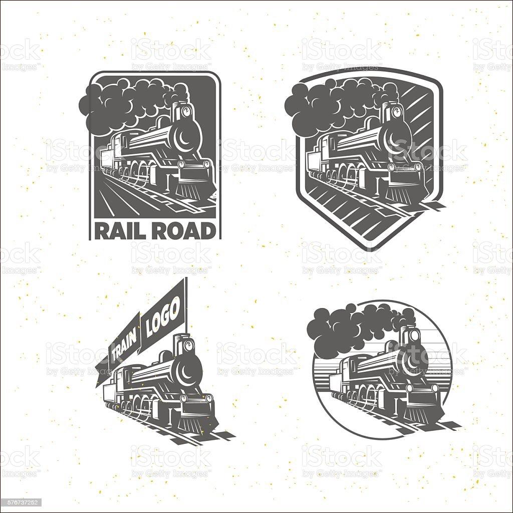 Set of templates with a locomotive. Vintage train, logotypes, il vector art illustration