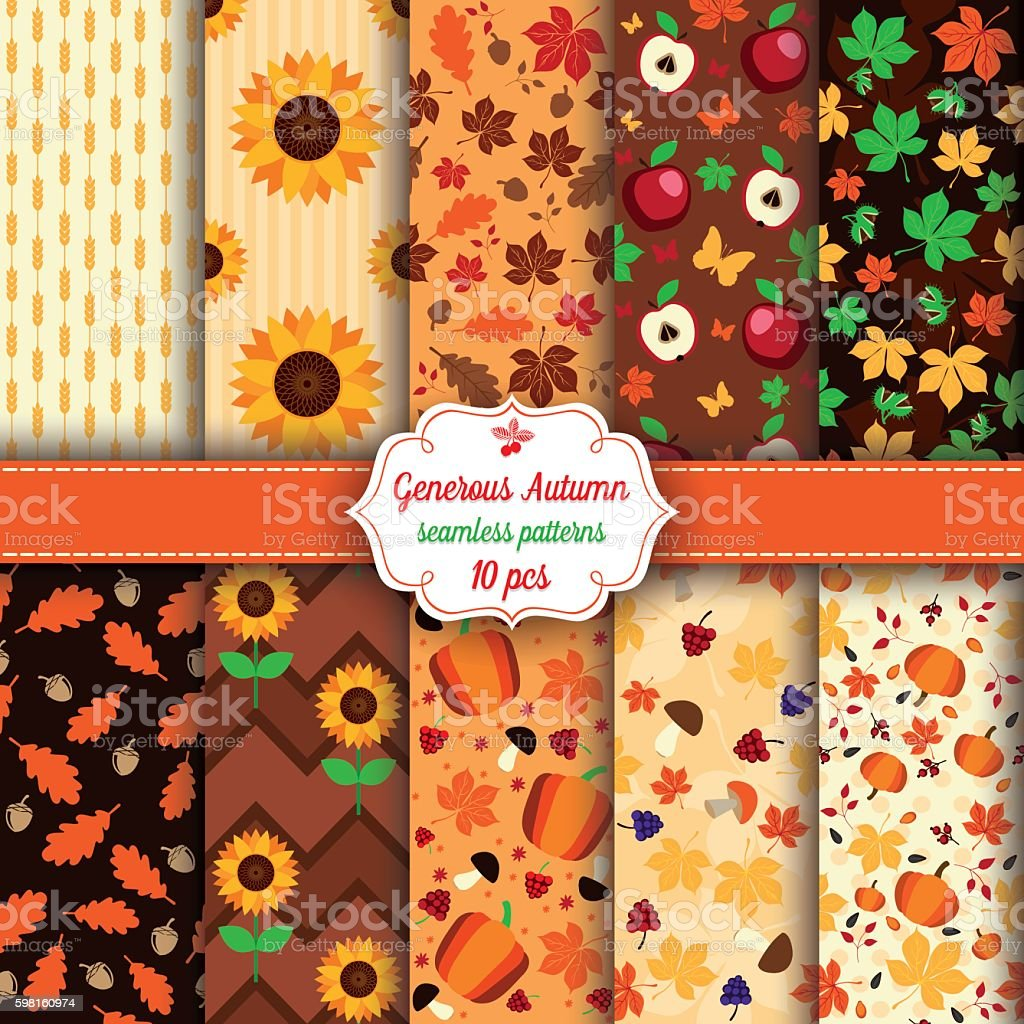 Set of ten Autumn seamless patterns vector art illustration