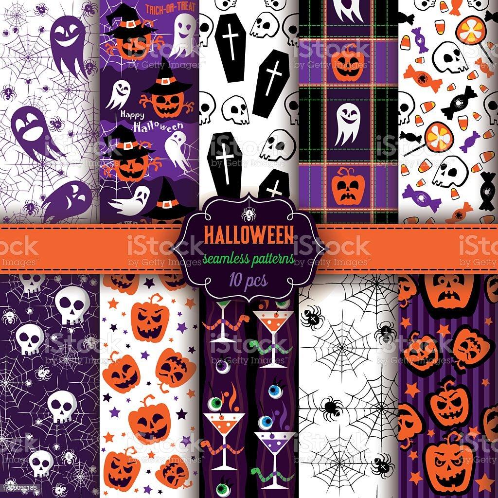 Set of ten Halloween seamless patterns vector art illustration