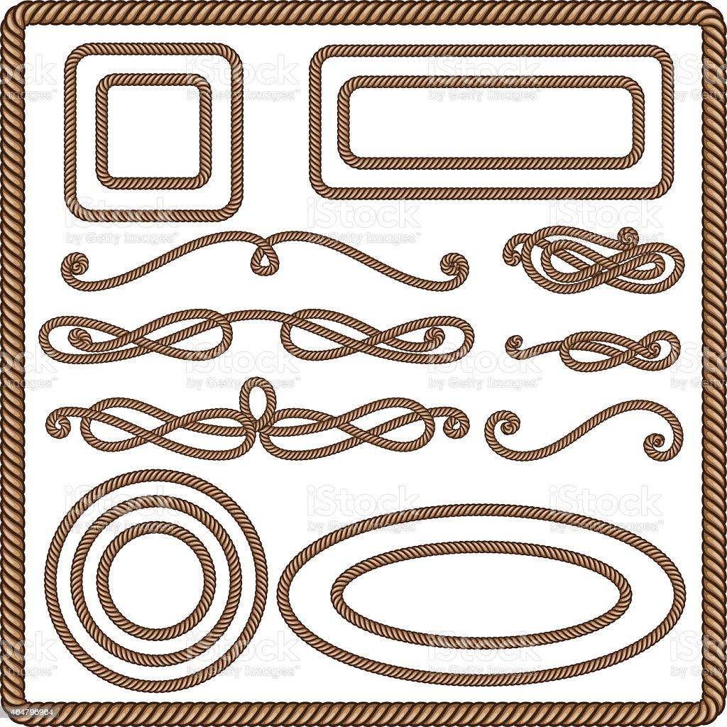 Set of ten rope art illustrations vector art illustration
