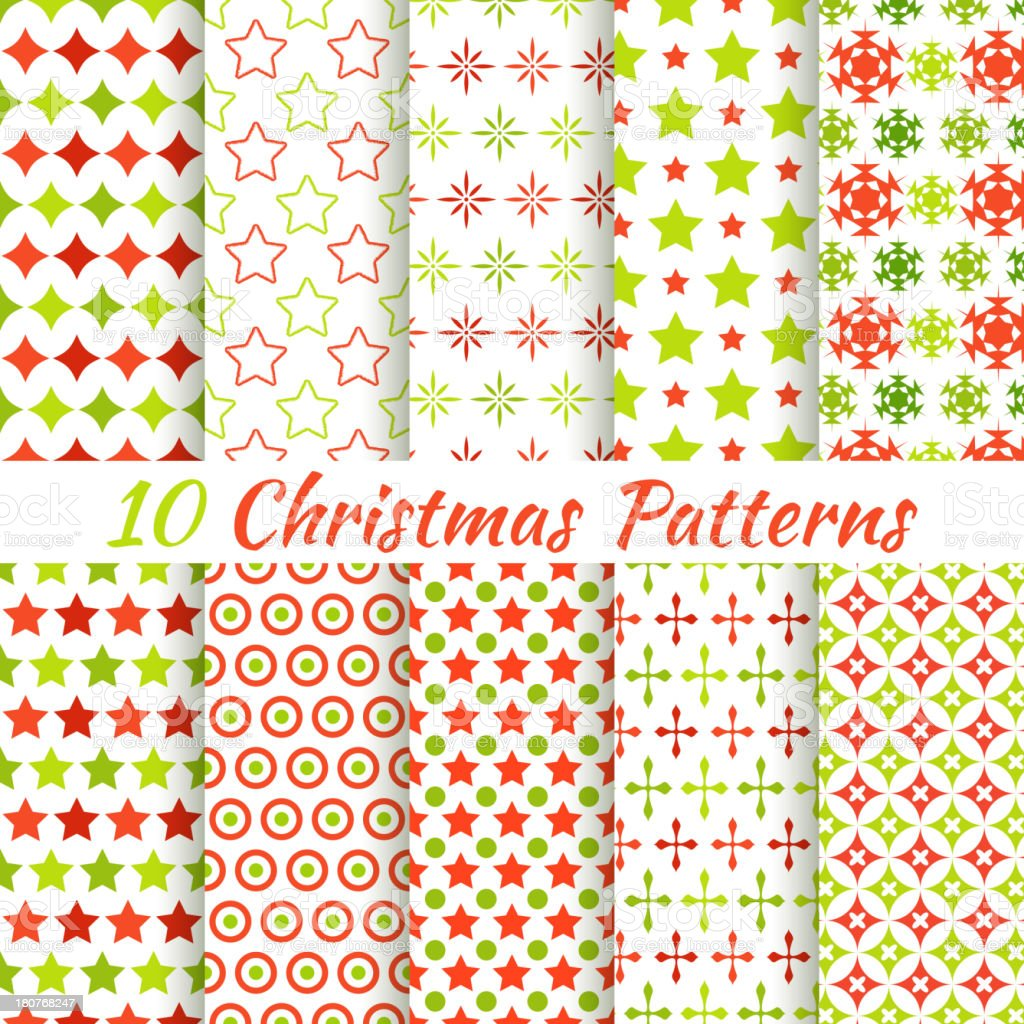 Set of ten seamless Christmas themed patterns royalty-free stock vector art