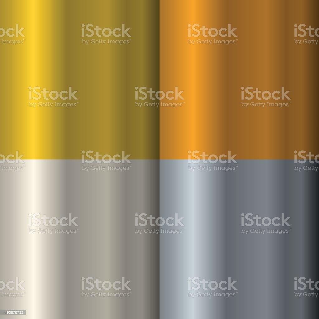 Set of textures on precious metals: gold and silver. vector art illustration