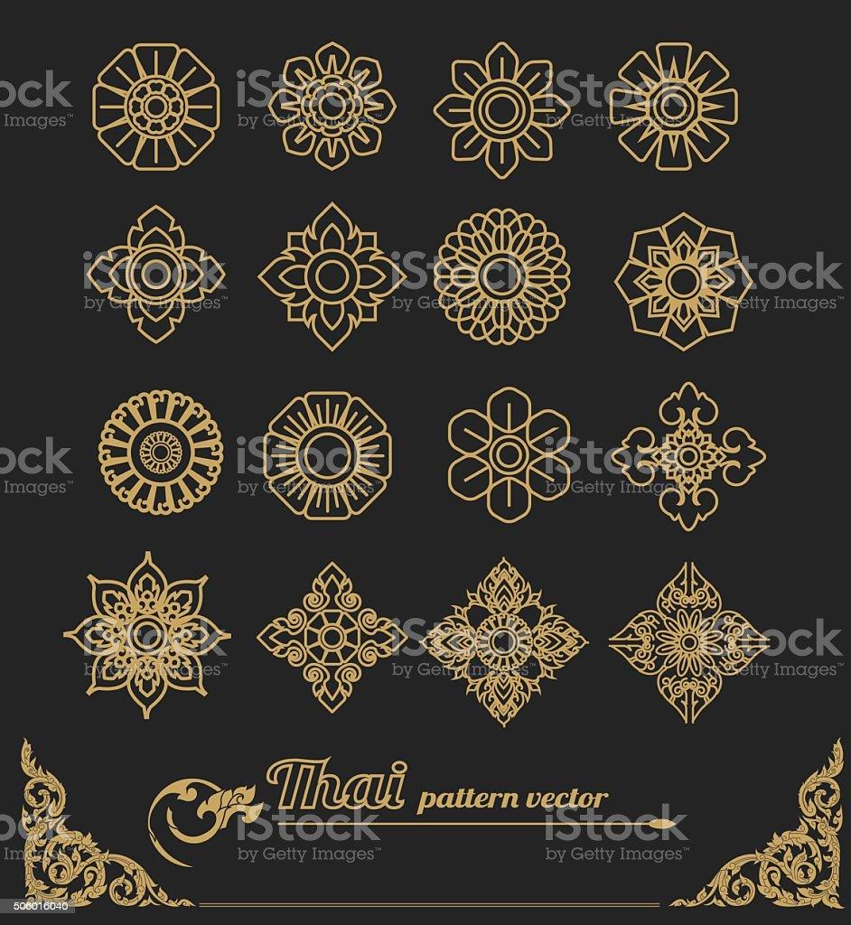 set of thai art design, flower design.vector illustration vector art illustration