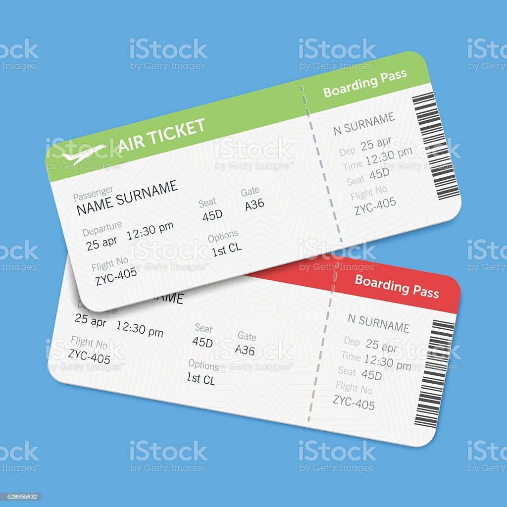 Set of the airline boarding pass tickets with shadow vector art illustration