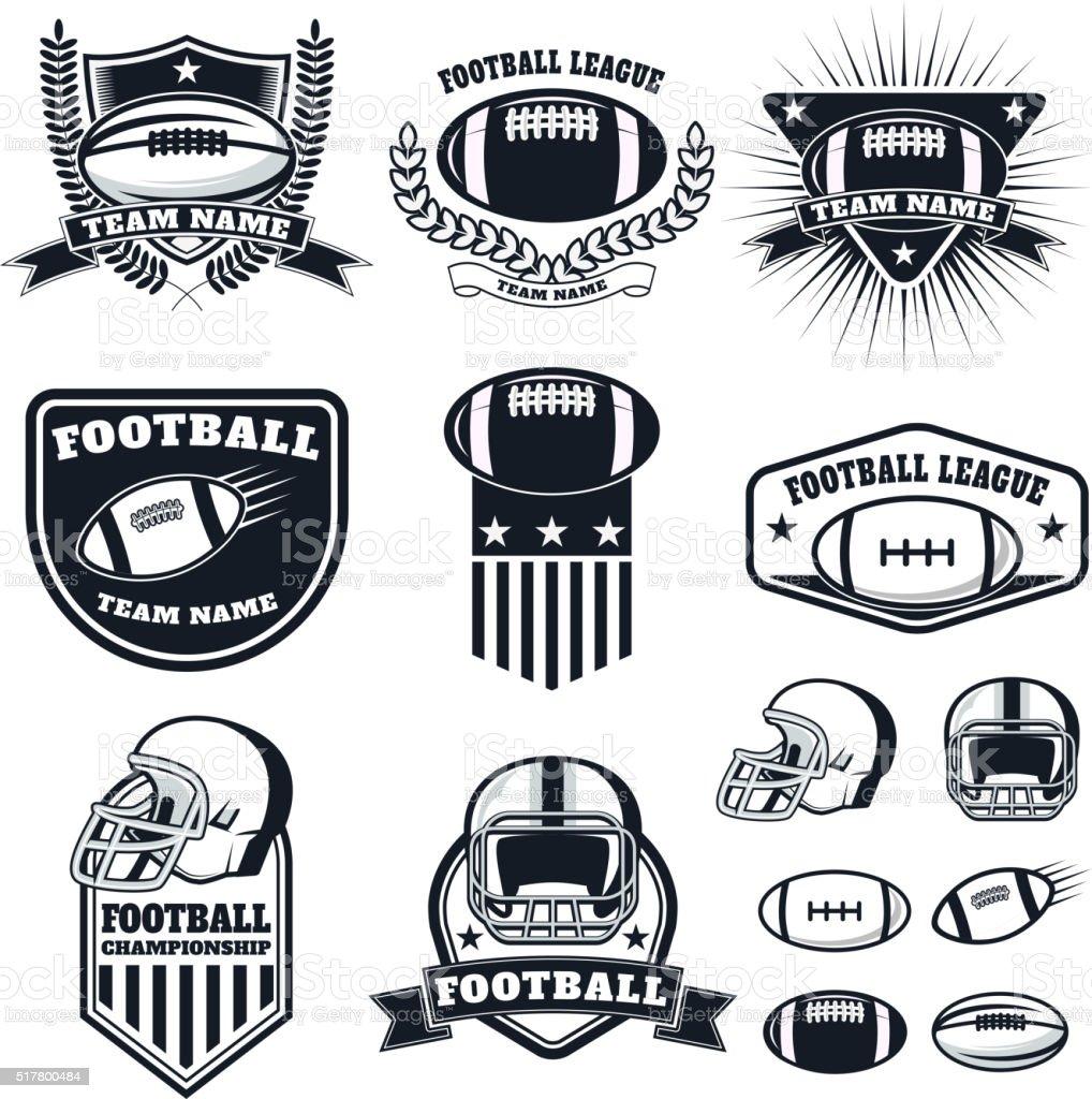 Set of the american football labels, emblems and design elements vector art illustration