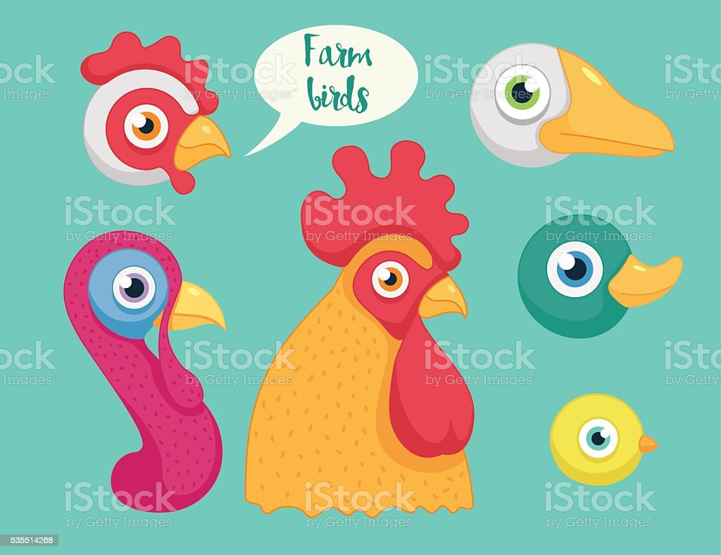 set of the birds farm vector art illustration