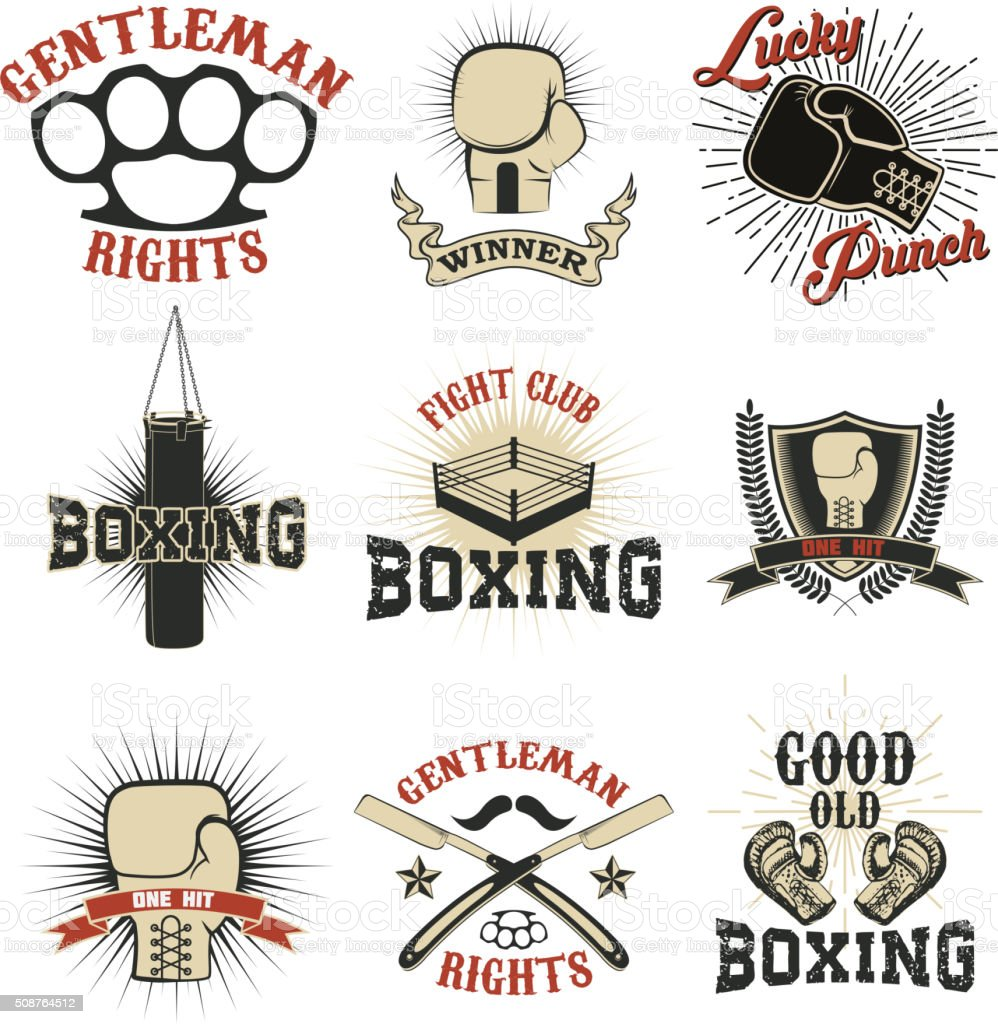Set of the boxing club labels, emblems and design elements vector art illustration