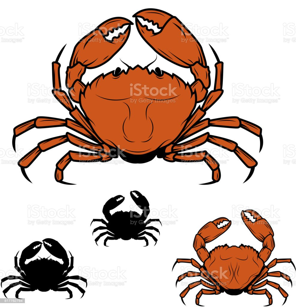 Set of the crabs icons in vector vector art illustration