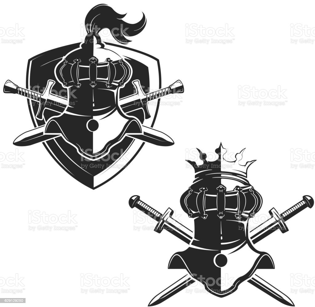 Set of the emblems templates with swords and knights helmets. vector art illustration