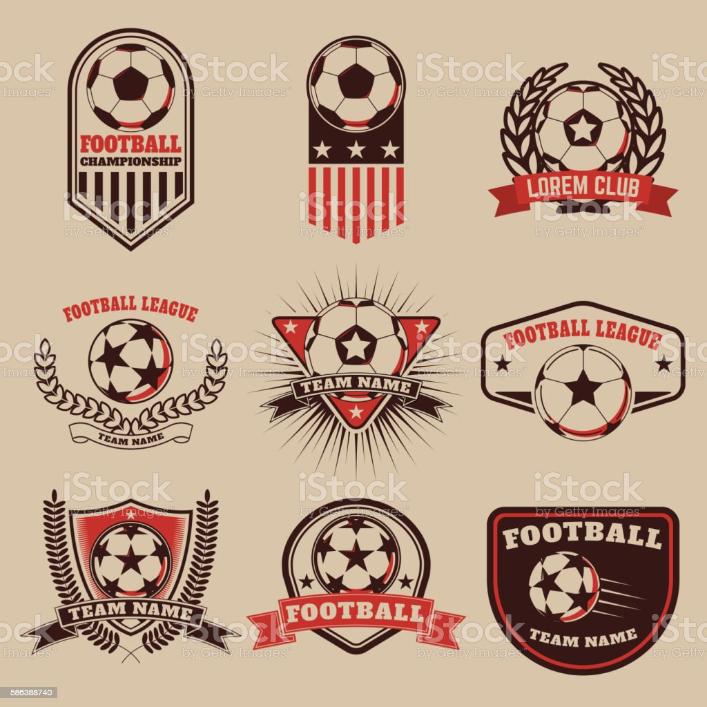 Set of the  football labels, emblems and design elements. vector art illustration