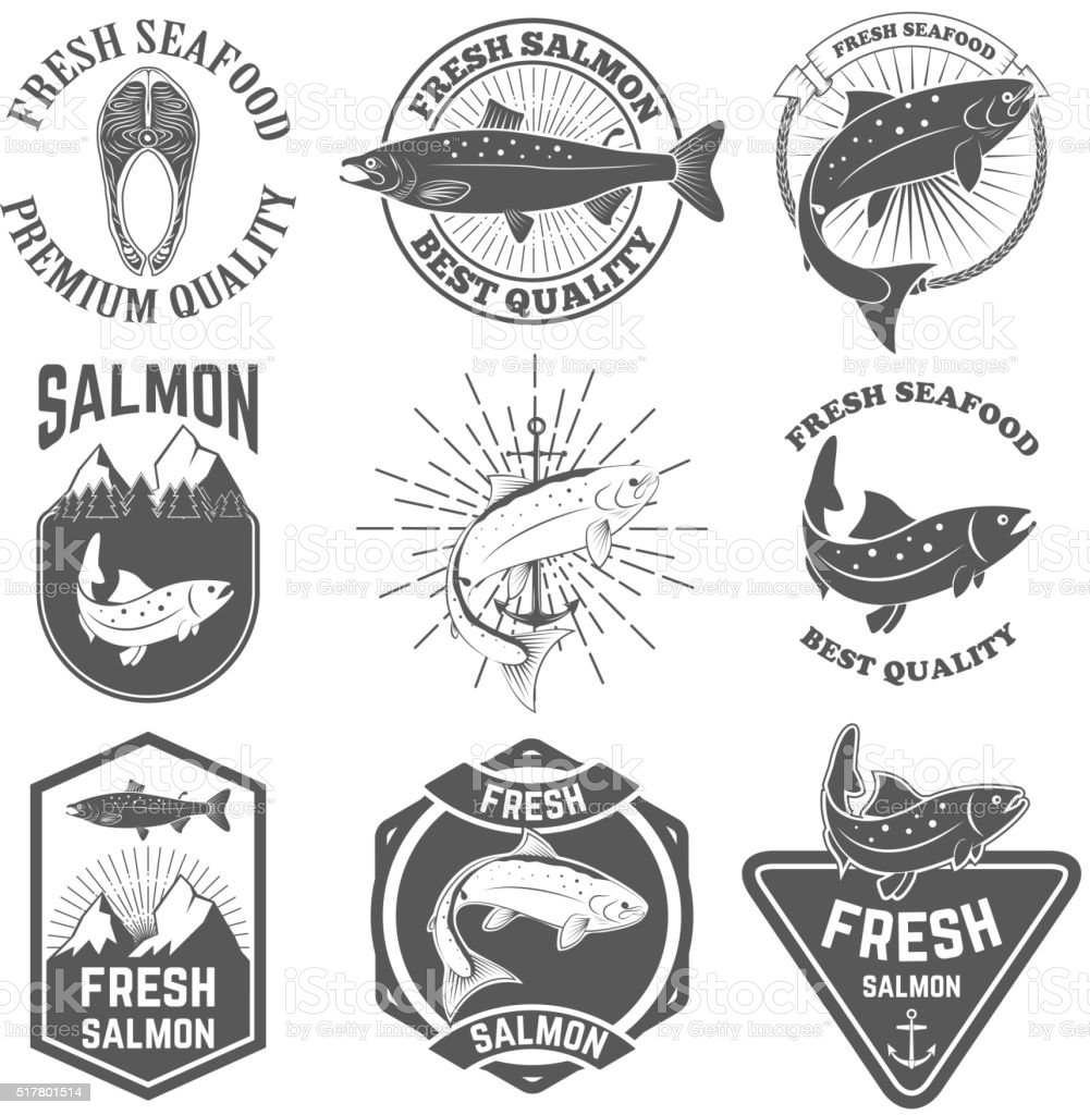 Set of the fresh salmon labels, emblems and design elements. vector art illustration