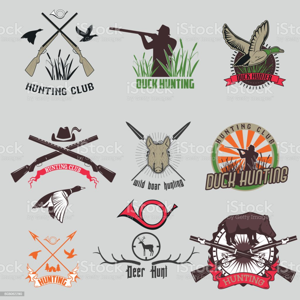 Set of the hunting labels and badges. vector art illustration