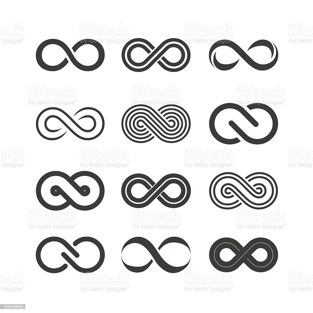 Set of the infinity symbols vector art illustration