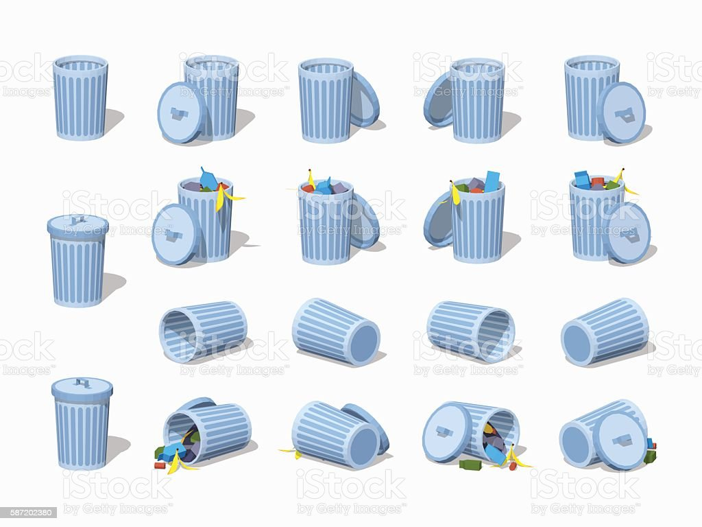 Set of the low poly trash cans vector art illustration