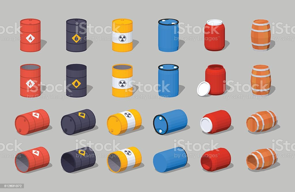 Set of the metal, plastic and wooden barrels vector art illustration