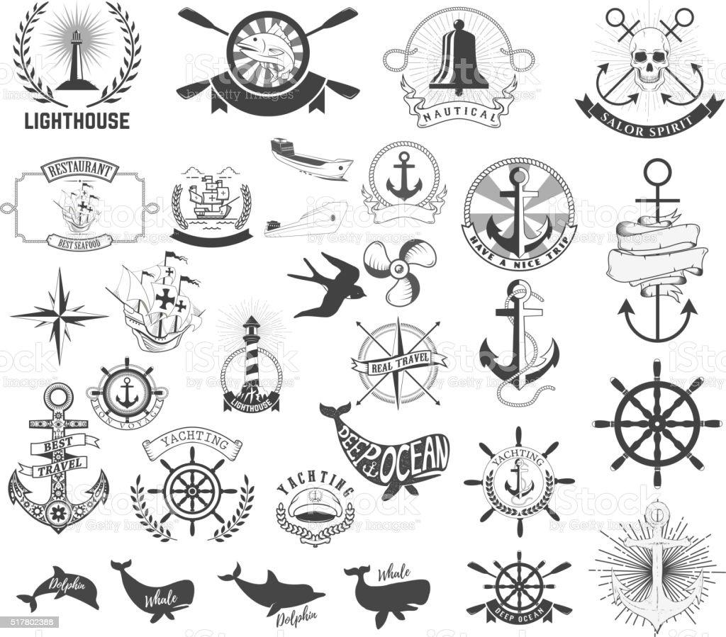 Set of the nautical labels, emblems and design elements. vector art illustration