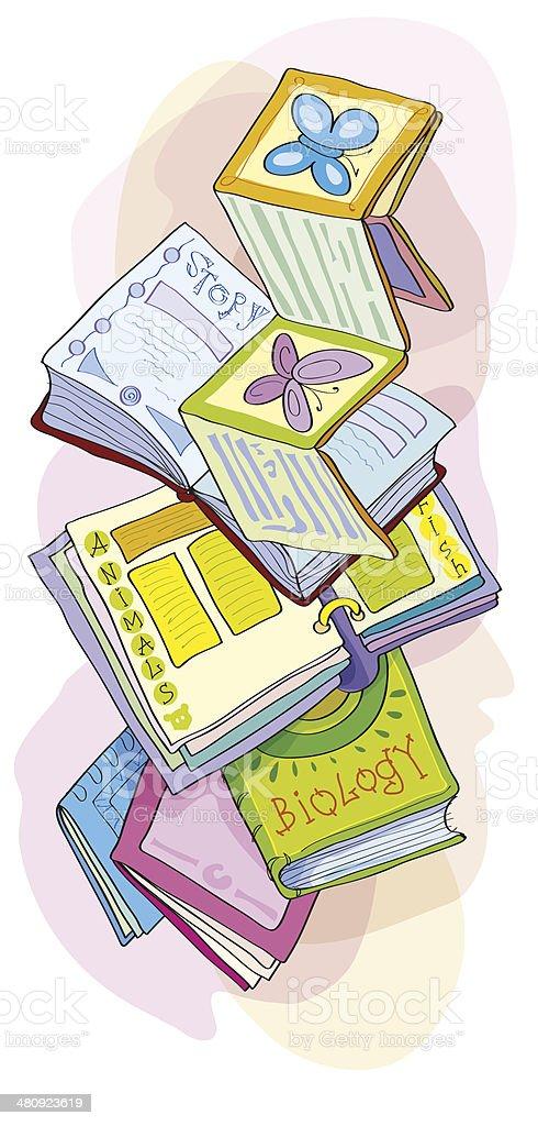 Set of the opened books. Children's books - Illustration vector art illustration