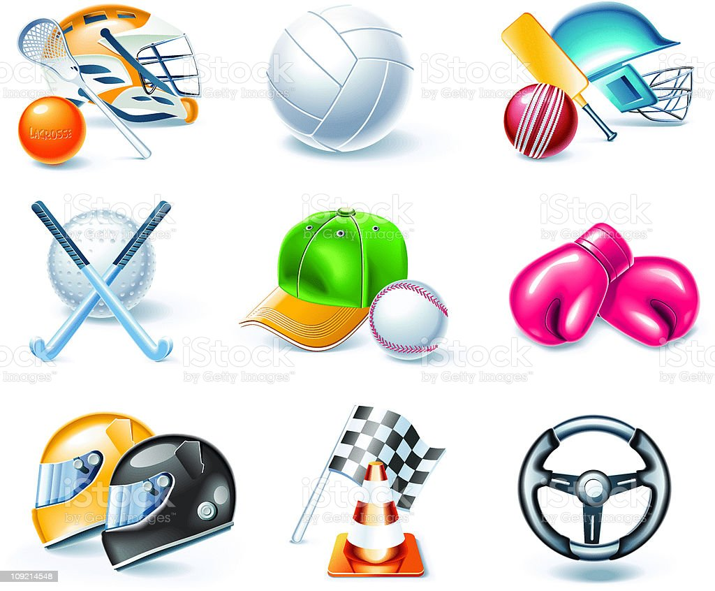 Set of the shiny sport equipment icons royalty-free stock vector art