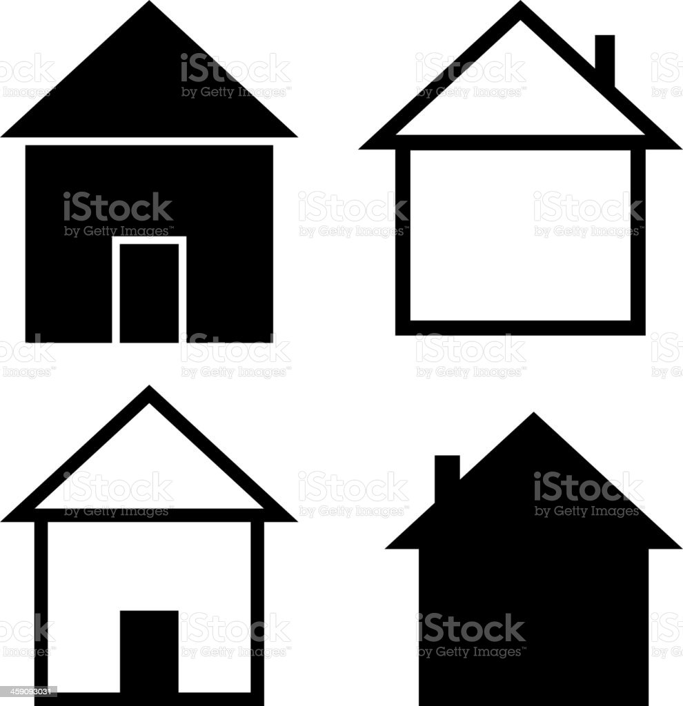 Set of the silhouettes houses royalty-free stock vector art