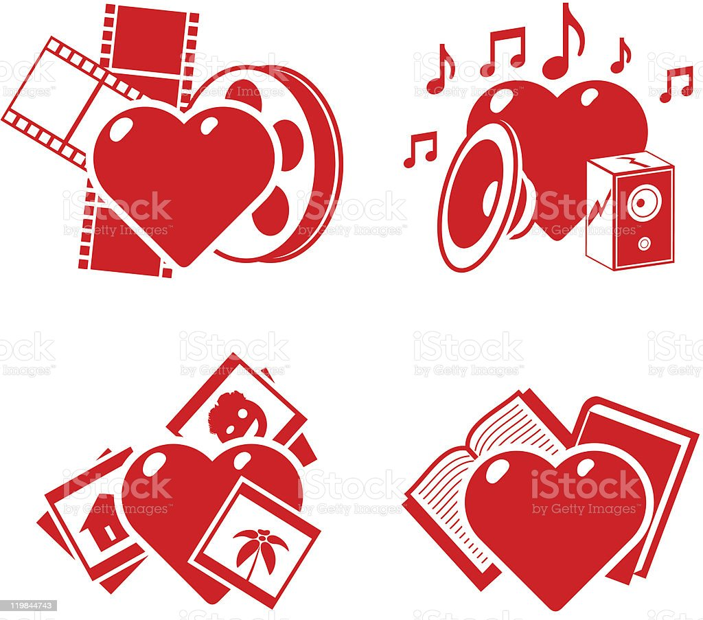 set of the stylised hearts on a hobby theme royalty-free stock vector art