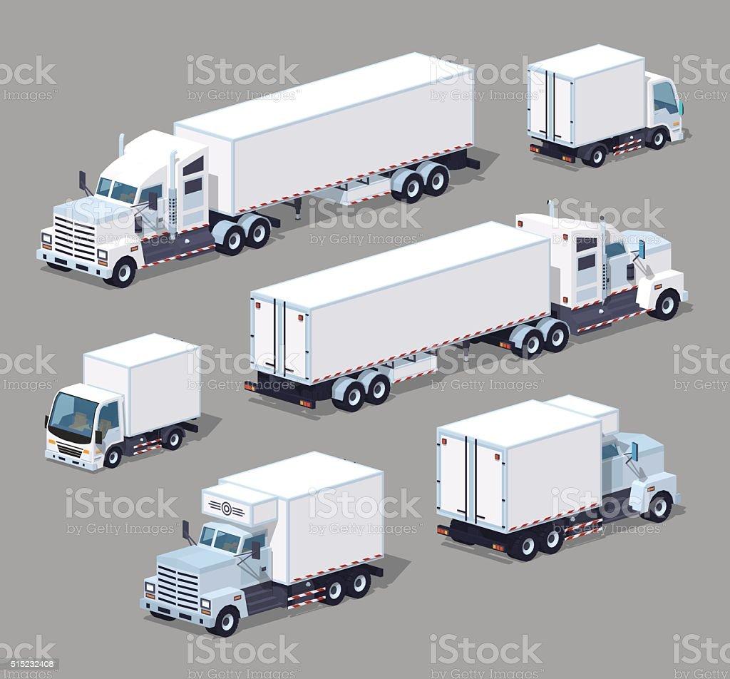 Set of the white low poly trucks vector art illustration