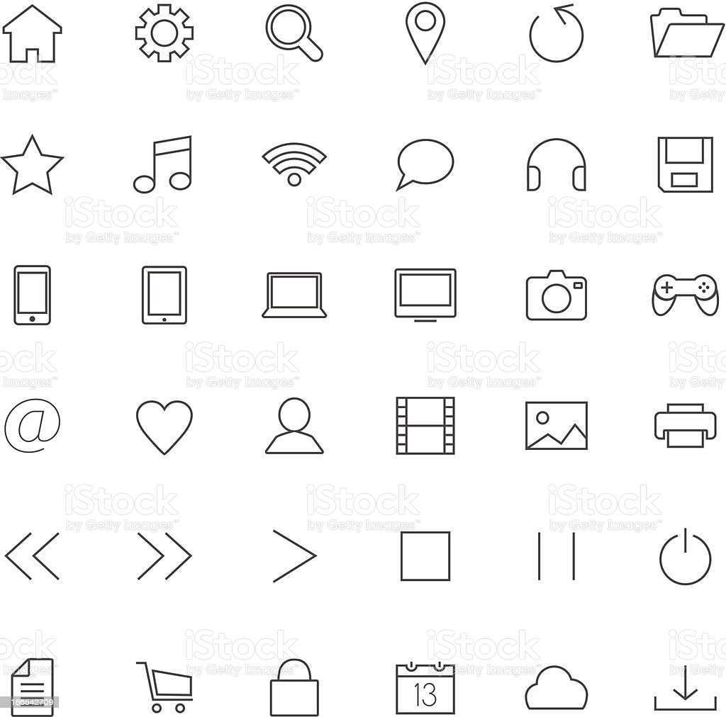 Set of thin icons royalty-free stock vector art
