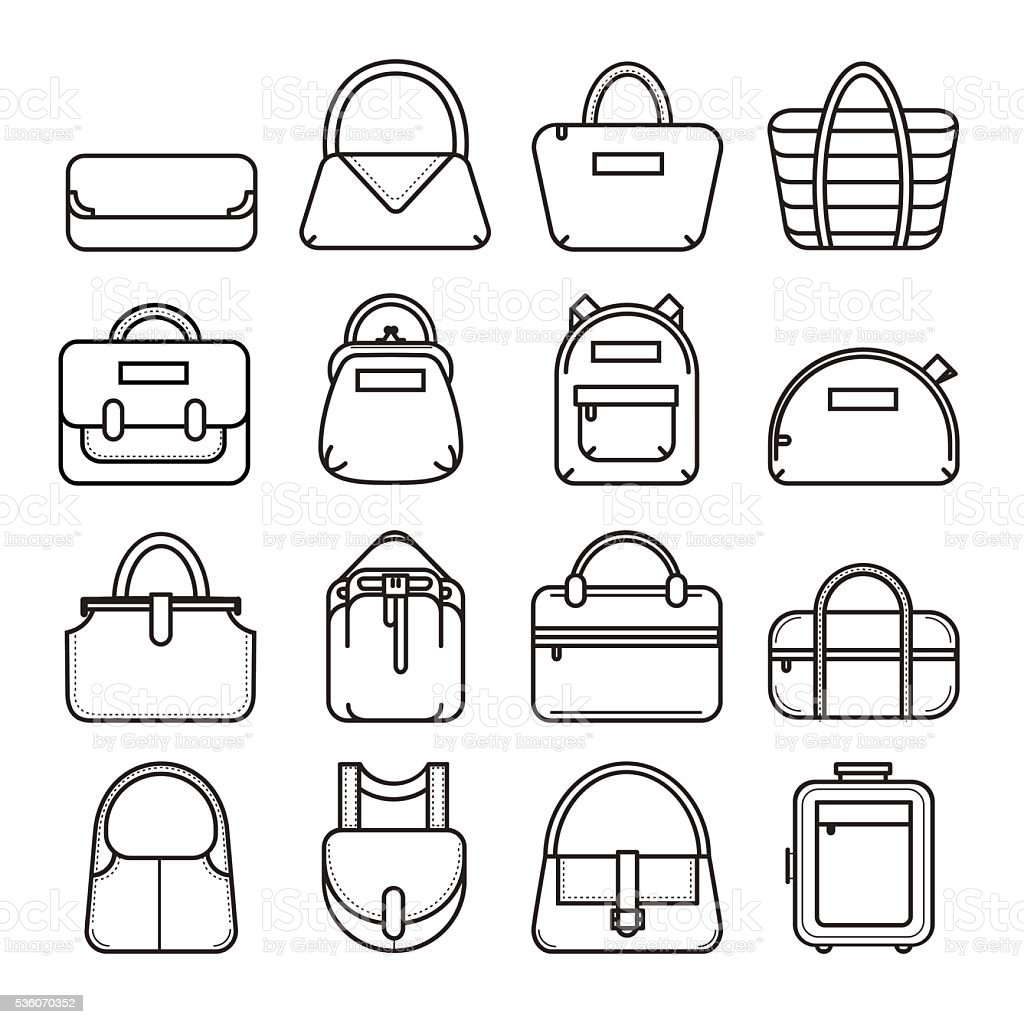 Set of thin line bag icons vector art illustration