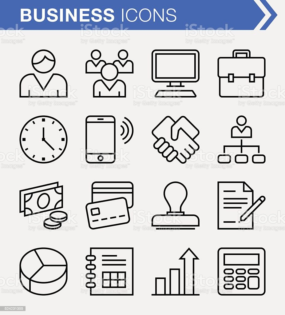 Set of thin line business icons. vector art illustration