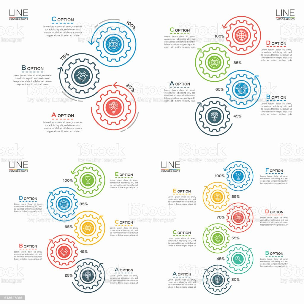 Set of Thin line business infographic templates with gears. vector art illustration