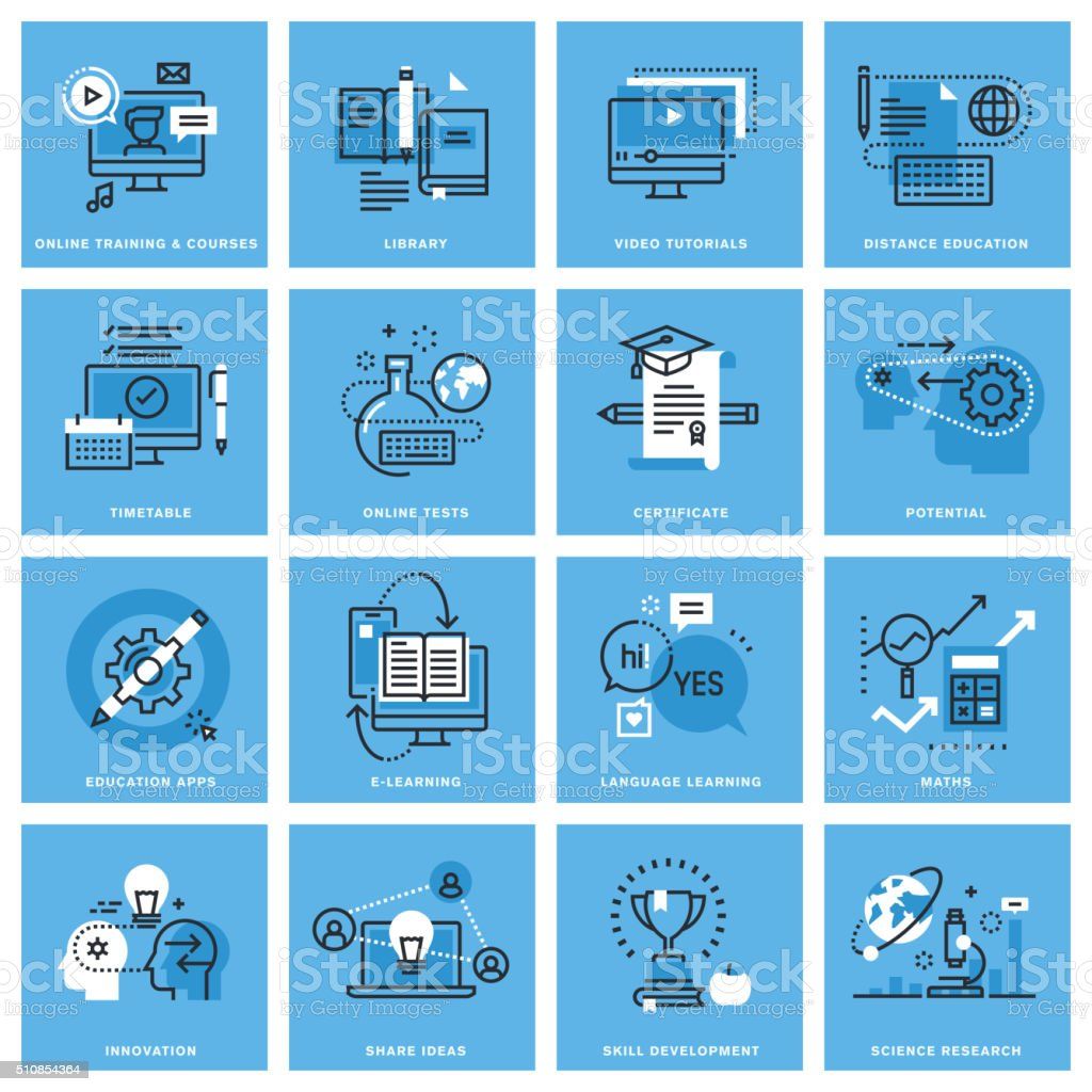 Set of thin line concept icons of distance education vector art illustration