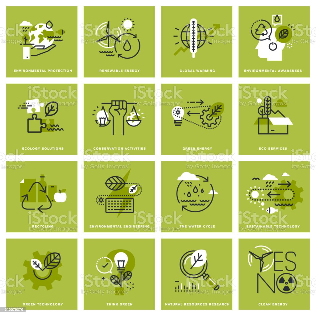 Set of thin line concept icons of environment vector art illustration
