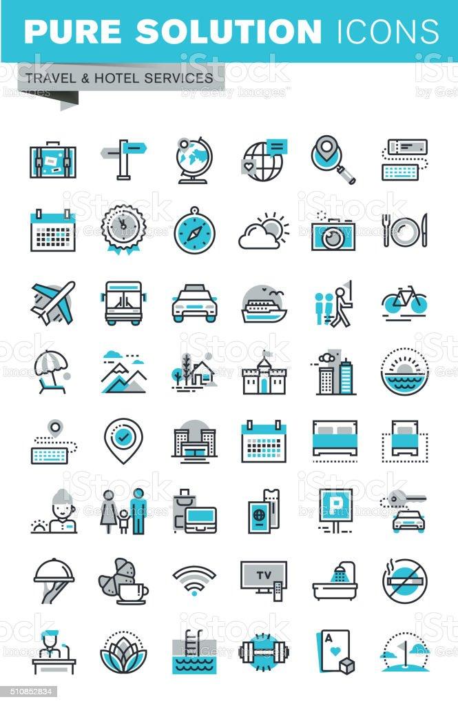 Conjunto de línea fina de diseño plano iconos de viaje illustracion libre de derechos libre de derechos