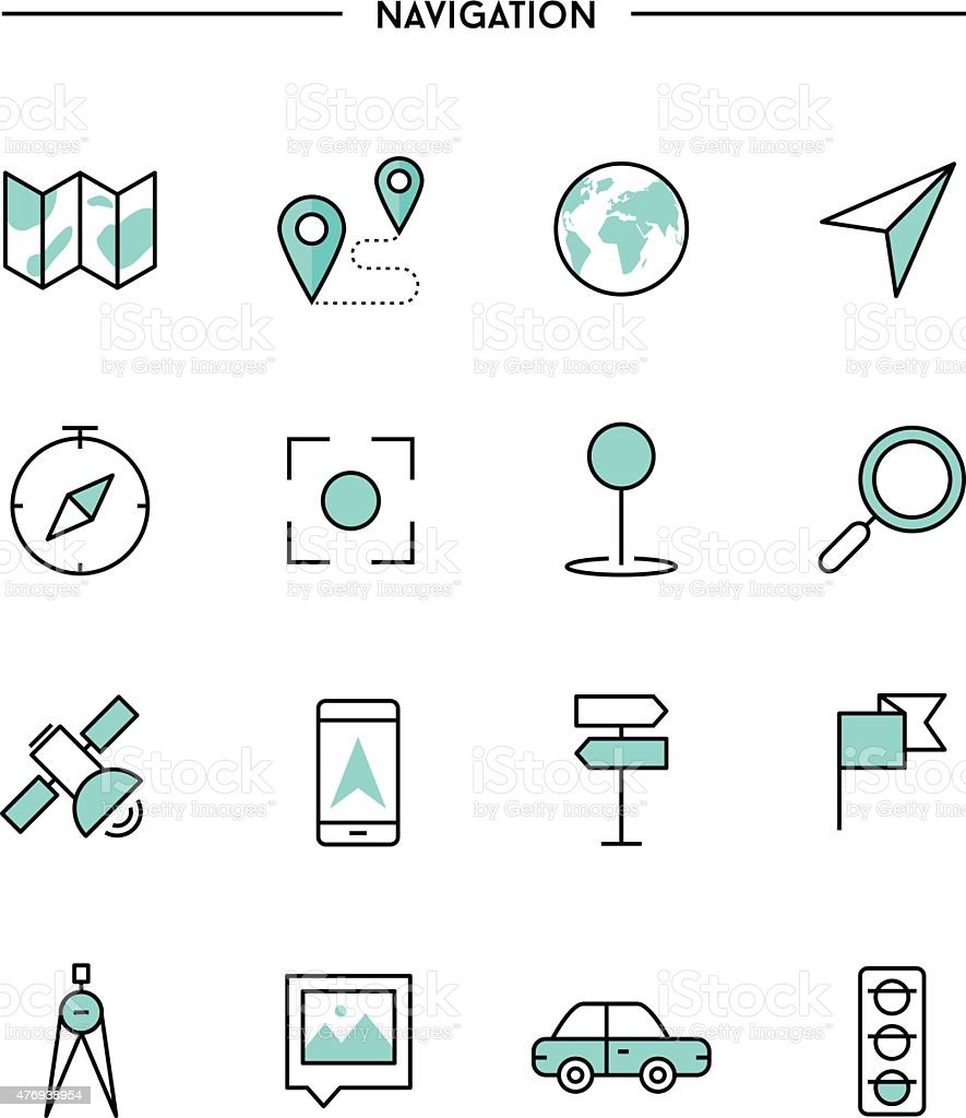 set of thin line flat navigation icons vector art illustration