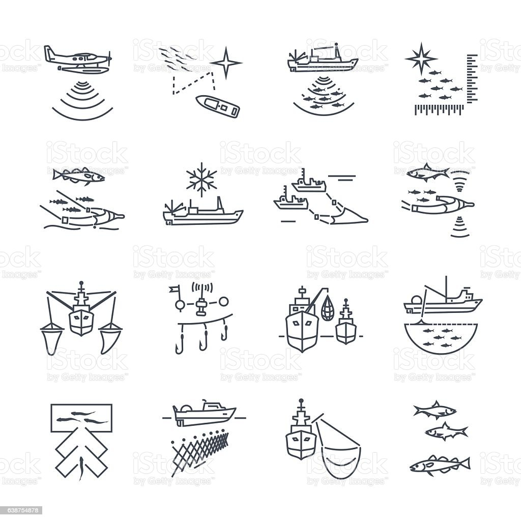 set of thin line icons fishing process vector art illustration