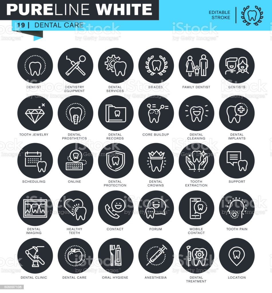 Set of thin line icons for dental care vector art illustration