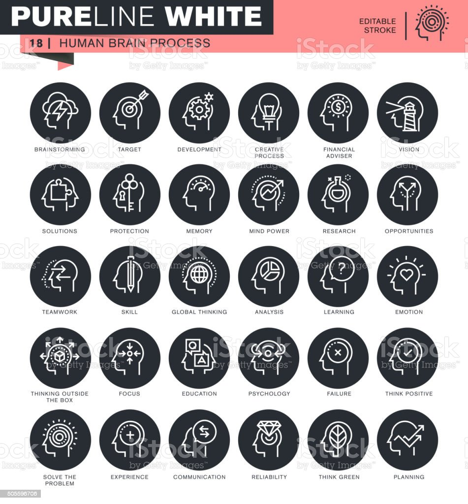 Set of thin line icons for human mind process vector art illustration