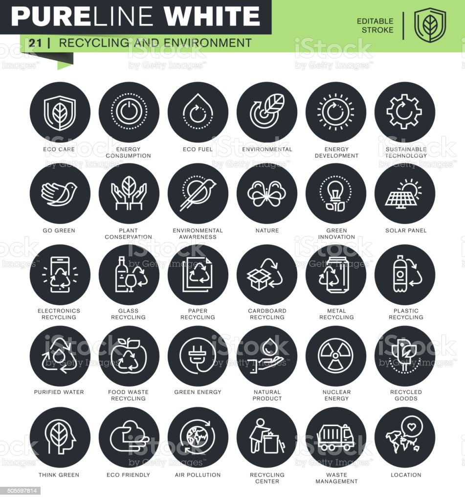 Set of thin line icons for recycling and environment vector art illustration
