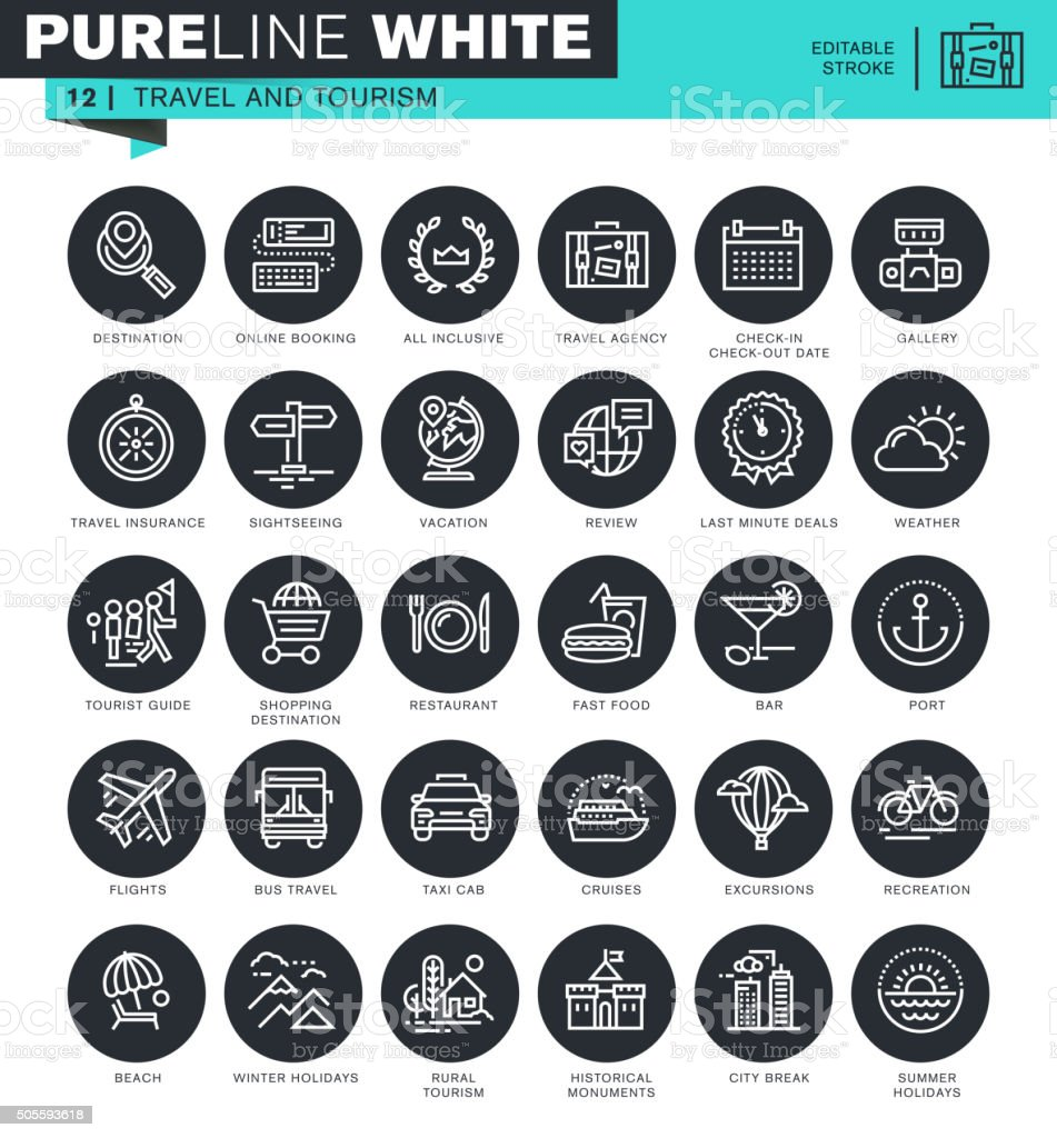 Set of thin line icons for travel and tourism vector art illustration