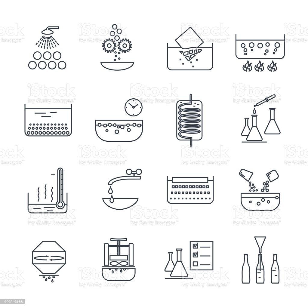 set of thin line icons manufacture of beverages production proce vector art illustration