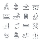 set of thin line icons manufacture of beverages production proce