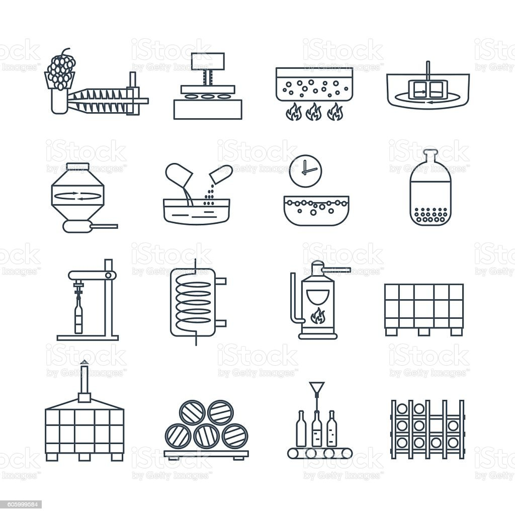 set of thin line icons wine production process vector art illustration