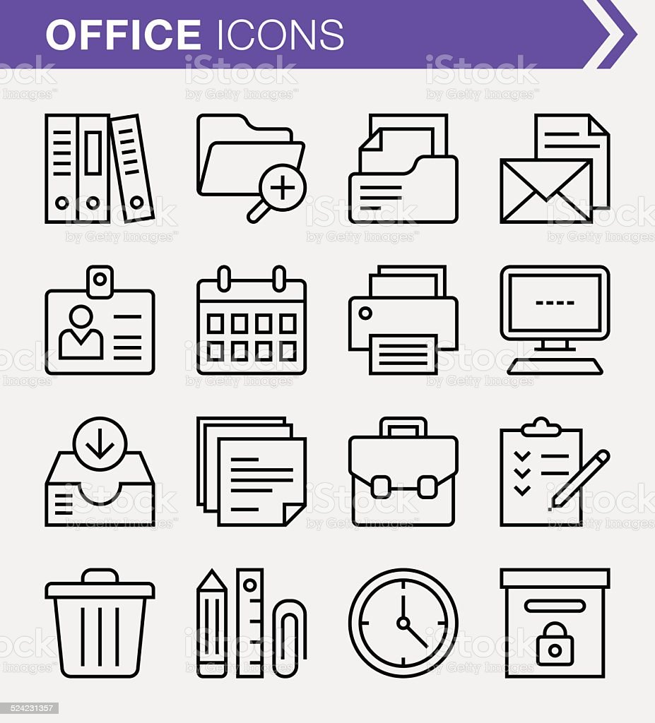 Set of thin line office icons. vector art illustration