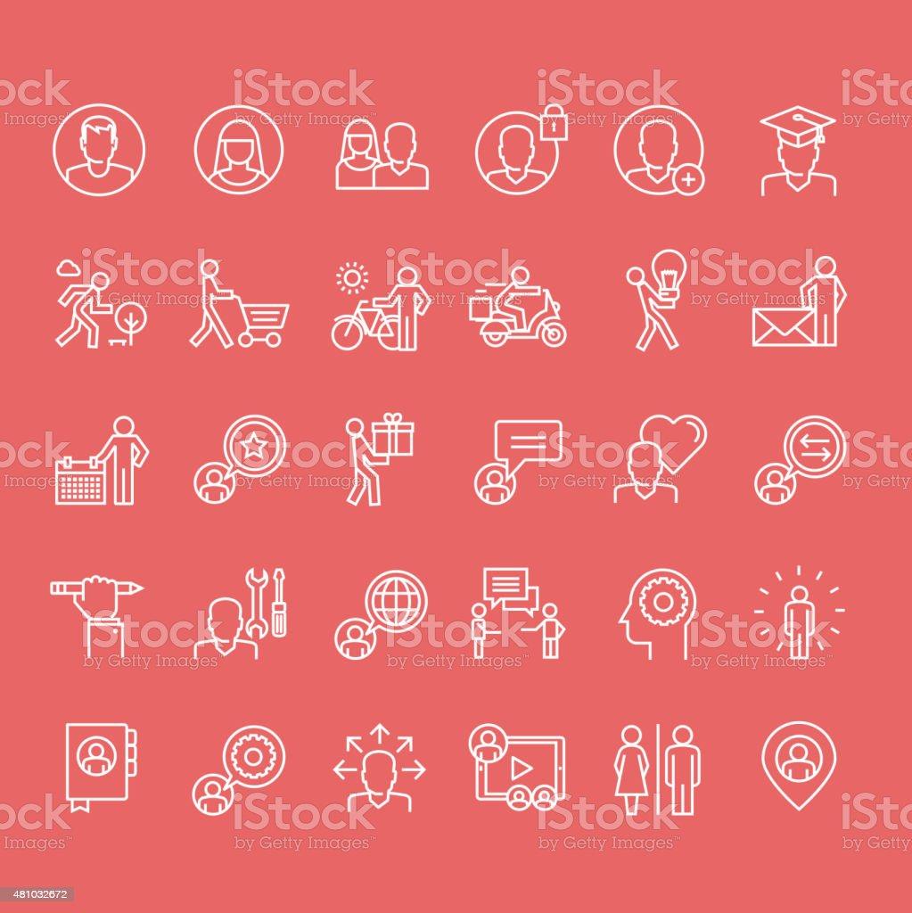 Conjunto de iconos de línea fina personas illustracion libre de derechos libre de derechos