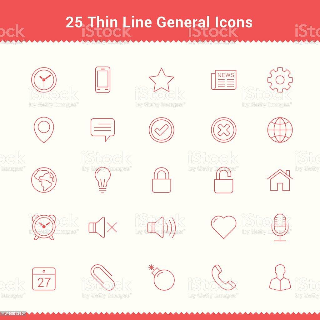 Set of Thin Line Stroke General Icons vector art illustration