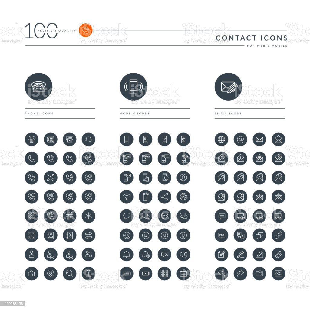 Set of thin line web icons for contact vector art illustration