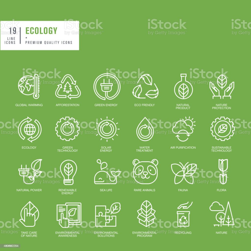 Set of thin line web icons for ecology vector art illustration