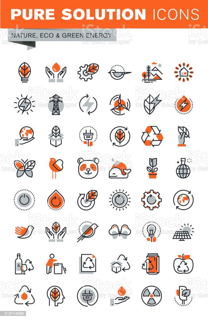 Conjunto de iconos Web de línea fina para el medio ambiente y la naturaleza illustracion libre de derechos libre de derechos
